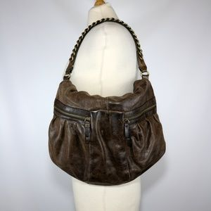 Banana Republic Brown Leather Foldover Hobo Bag
